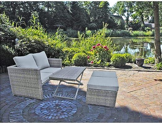 4 piezas. Jardín Juego de sofá Lounge Asiento Grupo Muebles de terraza imitación de ratán: Amazon.es: Jardín