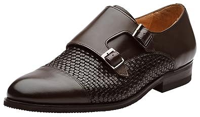 12e548e99482 Dapper Shoes Co. Mens Toe Cap Double Monk Strap Modern Classic Dress Shoes  US 7