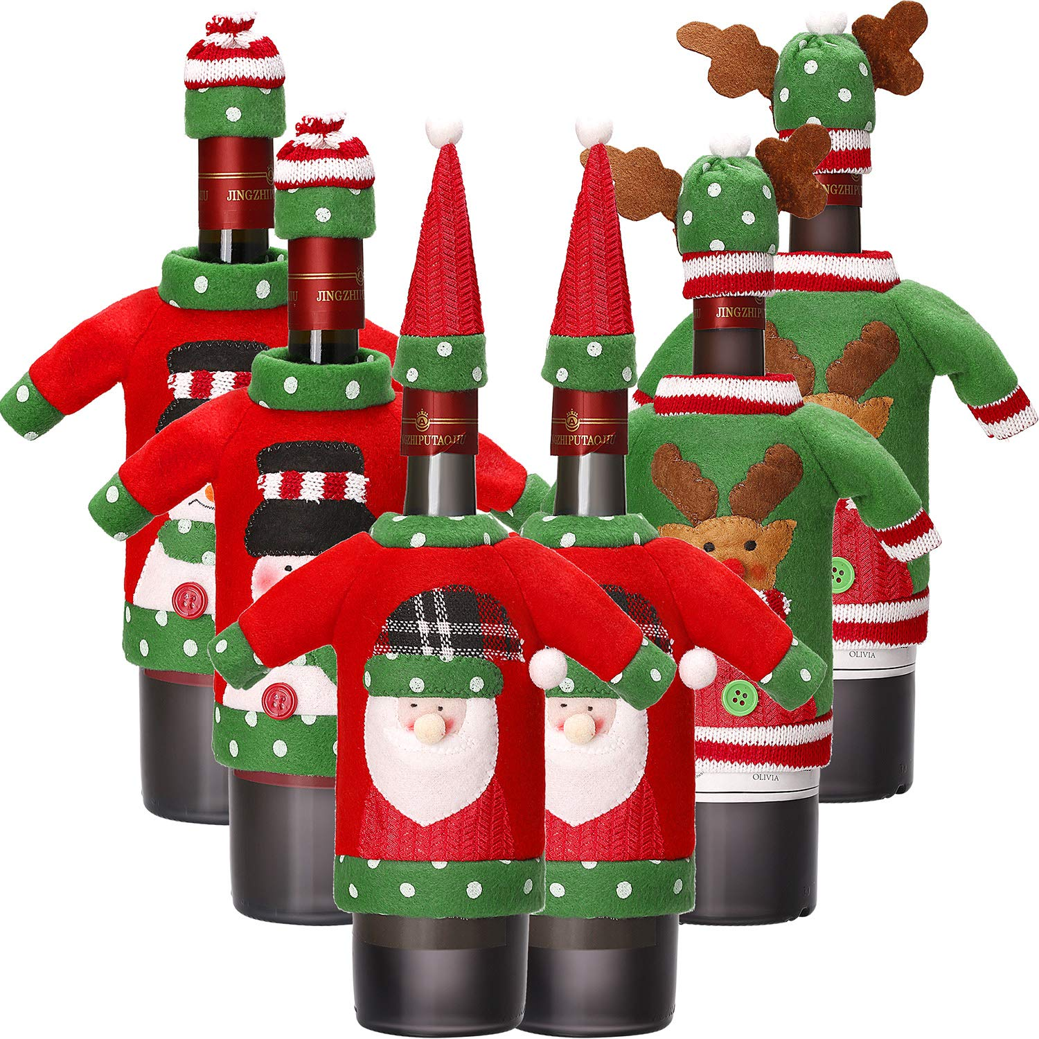 12 Pieces Christmas Wine Bottle Cover Knit Sweater Wine Bottle Dress Santa Reindeer Snowman Wine Bottle Cover for Christmas Decorations Christmas Sweater Party Decorations Boao