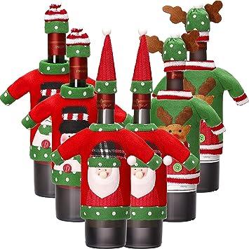 6 Sets Weihnachten Weinflasche Abdeckung Stricken Pullover