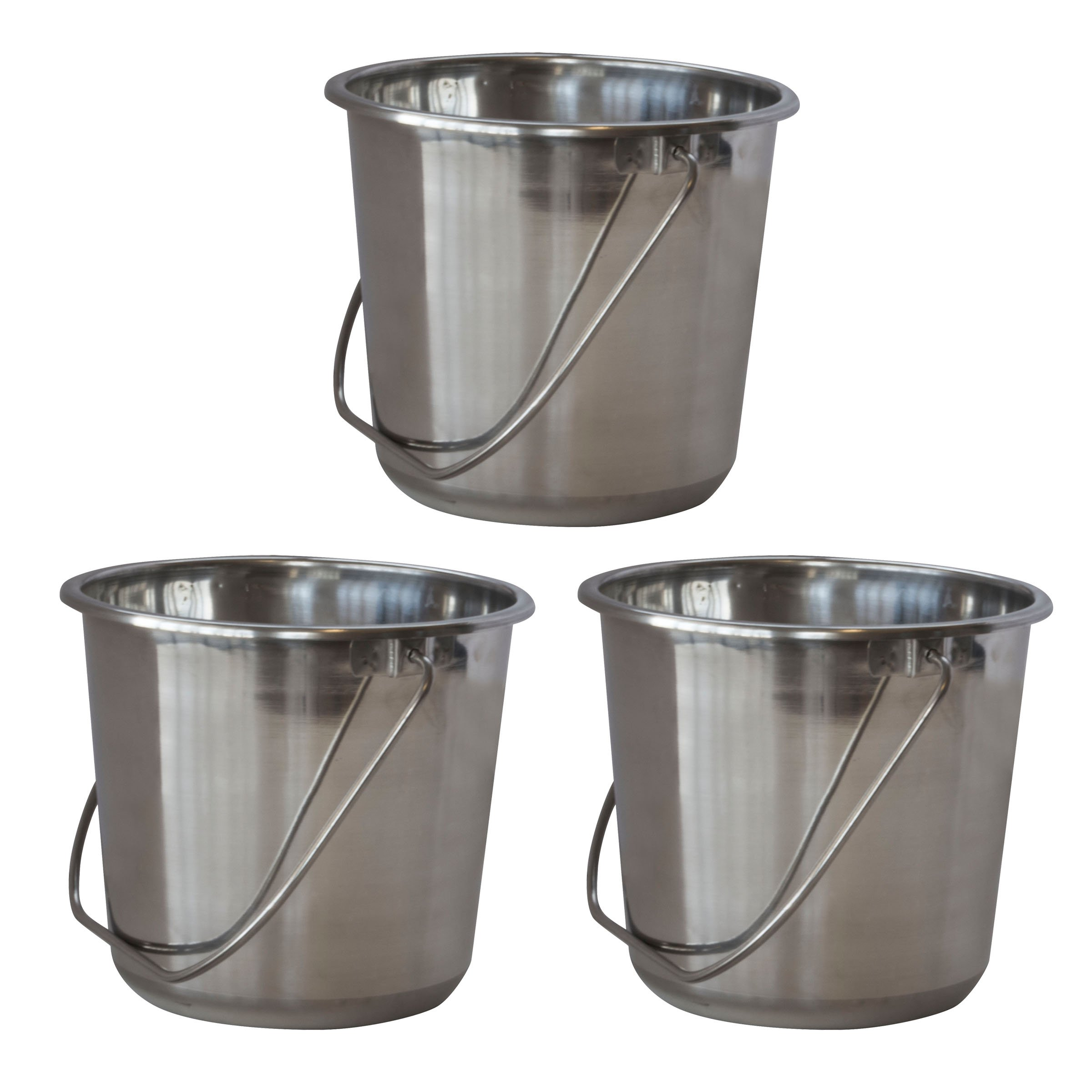 SSB132SET Small Stainless Steel Bucket Set – 3Piece