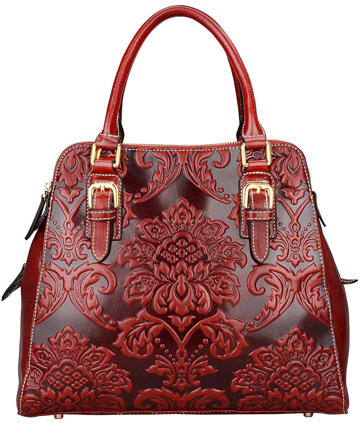 Pijushi Floral Handbag Designer Leather Shoulder Top Handle Bag (One Size, 91754 Red)