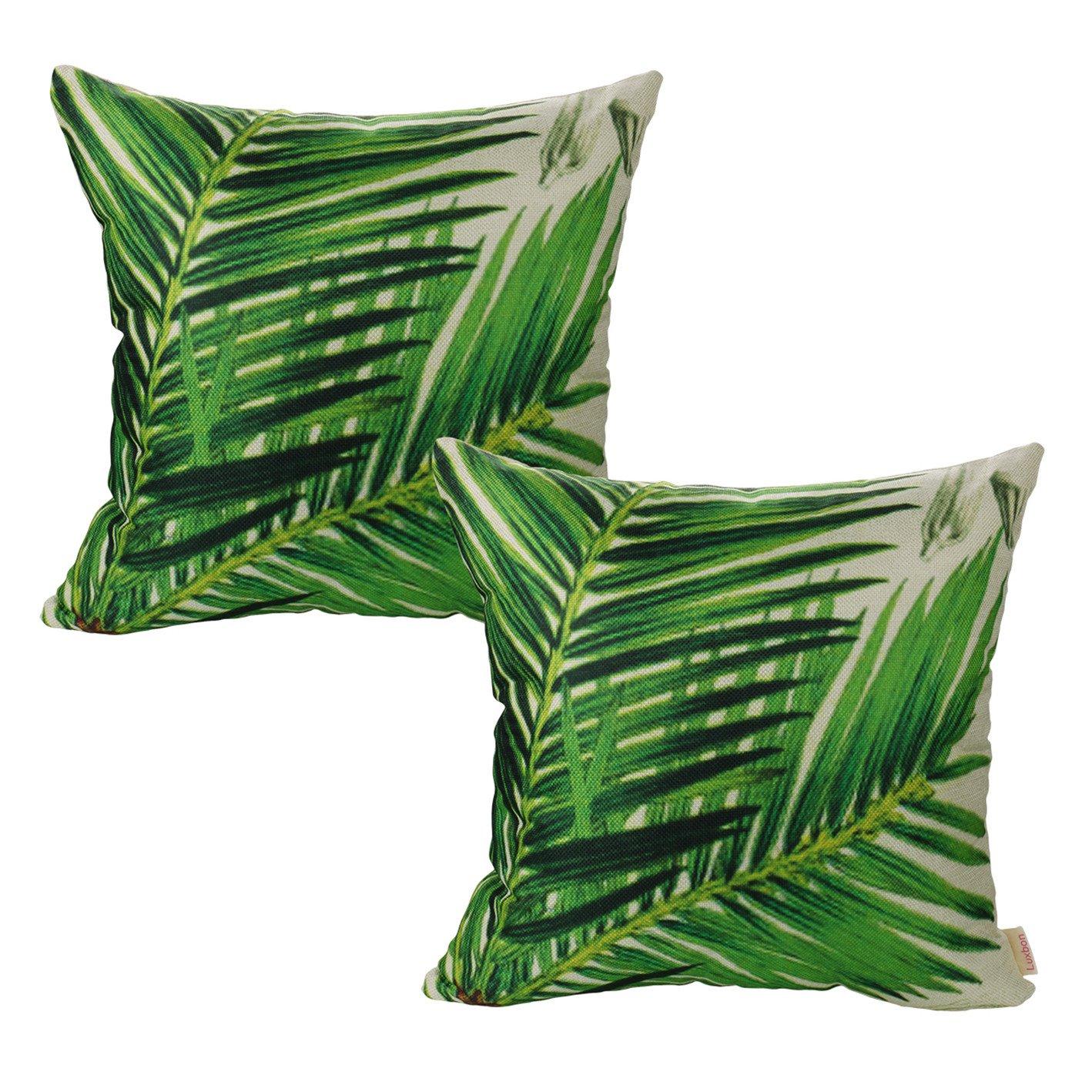 Luxbon 2Pcs Funda Cojines 45x45 Sofá Verde Lino Duradero Fundas de Almohada de Panda Planta Hojas Bambú Primavera para Coche Cama Hogar Decoracion