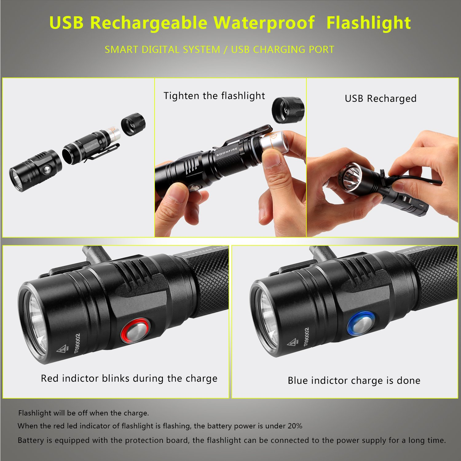 Cree XP-L LED Rechargeable Flashlight,Soonfire E07 USB Waterproof 1000 Lumen Compact EDC Flashlight with type 18650 3400mAh rechargeable Li-ion battery by soonfire (Image #6)