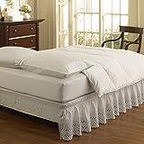 Easyfit Polyester Blend Wrap Around Eyelet Ruffled Bed Skirt, King Size, White