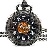 [モノジー] MONOZY 機械式 手巻き 懐中時計 ブラック クローム 両面 スケルトン アンティーク 風 収納袋 化粧箱
