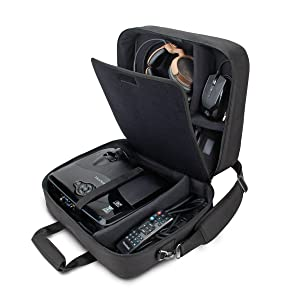 USA Gear Video Projector Case, Large Carry Case for Projector Accessories - Compatible with DBPOWER, ViewSonic, Epson, BenQ, Crenova & More - Scratch-Resistant, Shoulder Strap & Customizable Dividers