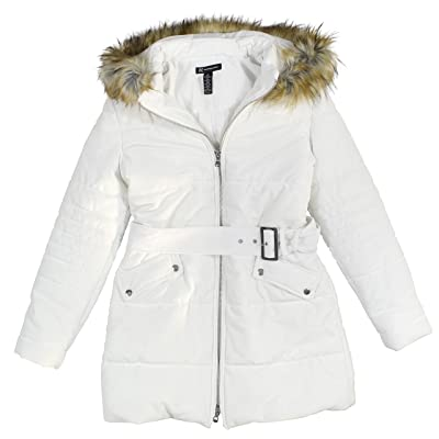 INC International Concepts Women's Hooded Velvet Puffer Coat With Faux-Fur Trim Medium Washed White at Women's Coats Shop