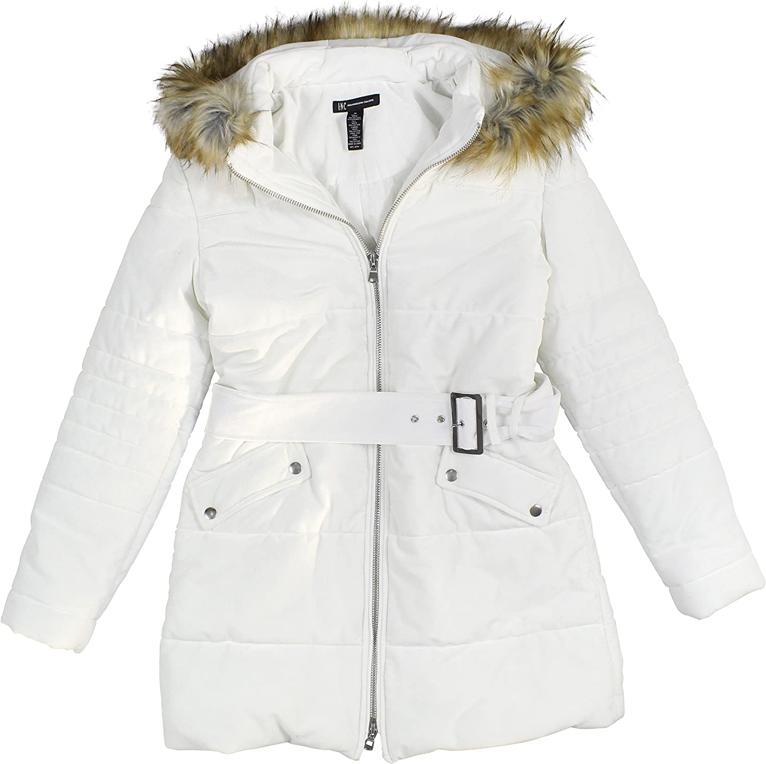 INC International Concepts Womens Hooded Velvet Puffer Coat with Faux-Fur Trim Large Washed White
