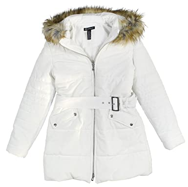 baa9489849cb9 INC International Concepts Women s Hooded Velvet Puffer Coat With Faux-Fur  Trim Medium Washed White