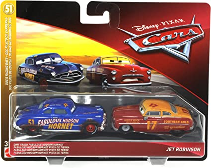 Amazon Com Disney Pixar Cars Dirt Track Fabulous Hudson Hornet And Jet Robinson 2 Pack Toys Games