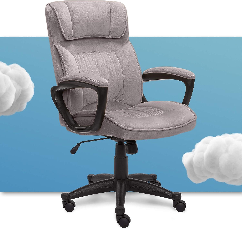 Serta Hannah Microfiber Office Chair with Headrest Pillow, Adjustable Ergonomic with Lumbar Support, Soft Fabric, Light Grey