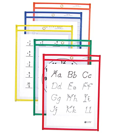 Amazon.com : C-Line Super Heavyweight Plus Dry Erase Pockets ...