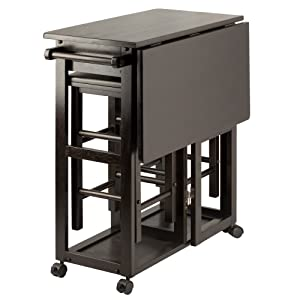 Winsome Wood 23330 Suzanne 3-PC Set Space Saver Kitchen, Smoke