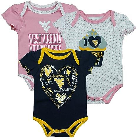 23e1b3534092 Amazon.com  West Virginia Mountaineers NCAA Infants Creeper 3 Pack ...