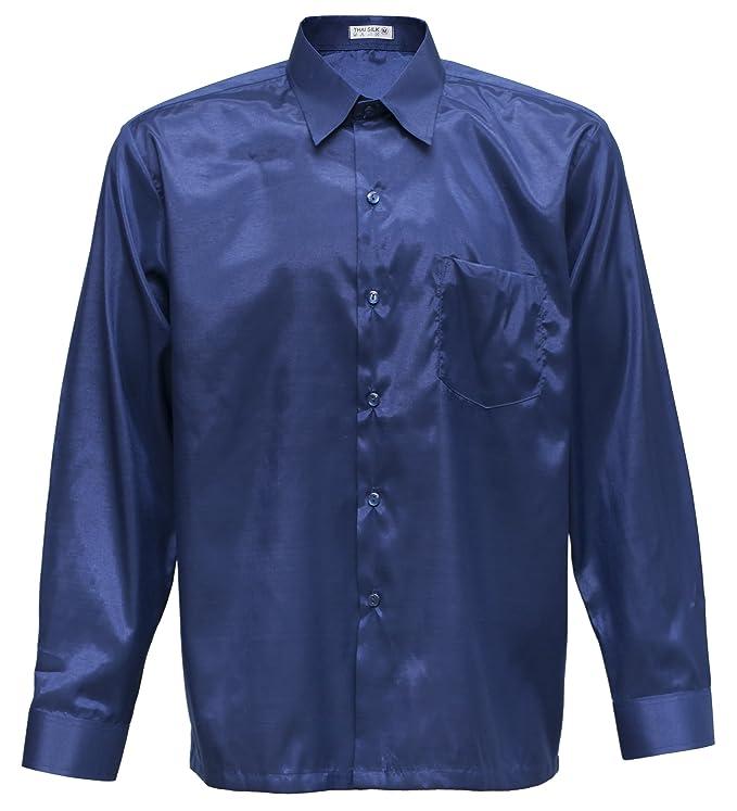 Thai Silk - Camisa Casual - con Botones - para Hombre Azul Azul Oscuro Medium: Amazon.es: Ropa y accesorios