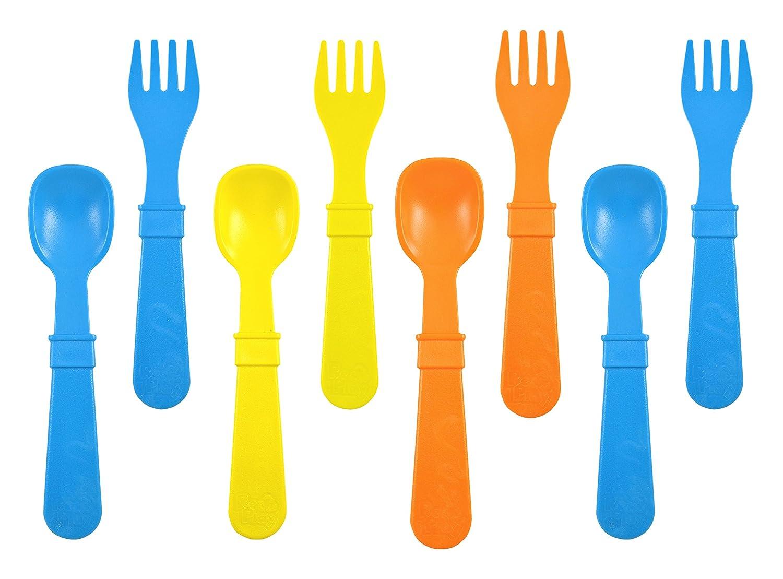 4 cucharas y 4 Tenedores Juego de Cubiertos para ni/ños Fabricado en Estados Unidos. Re-Play sostenible Gracias al Material Reciclado sin BPA