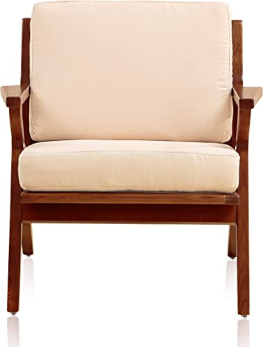Ceets Martelle Chair with Amber Ashwood Frame and Twill Fabric Cushions Cream Mid Century Modern Accent Armchair for Your Living Room, Office or Bedroom, 30.7 31.5 29.5