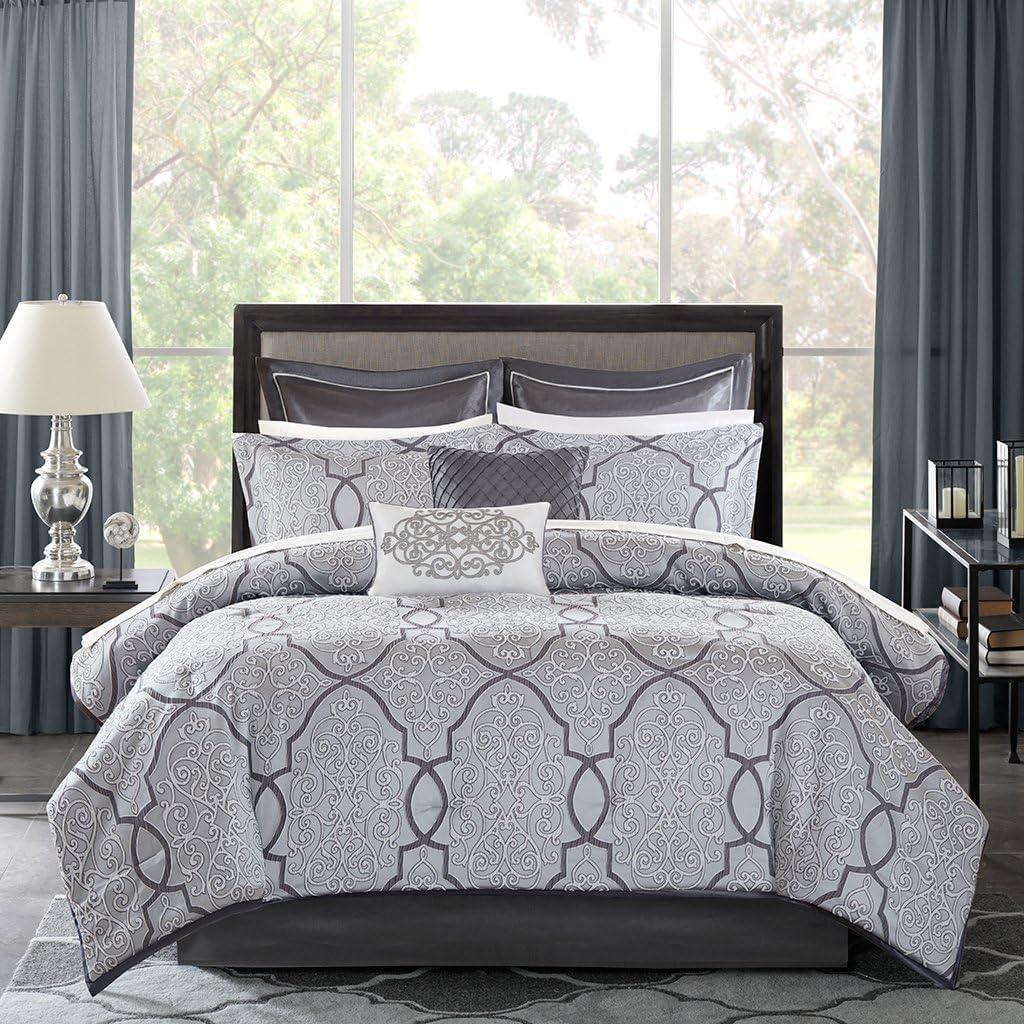 Madison Park MP10-4044 Lavine 12 Piece Jacquard Comforter Set, Silver, Queen