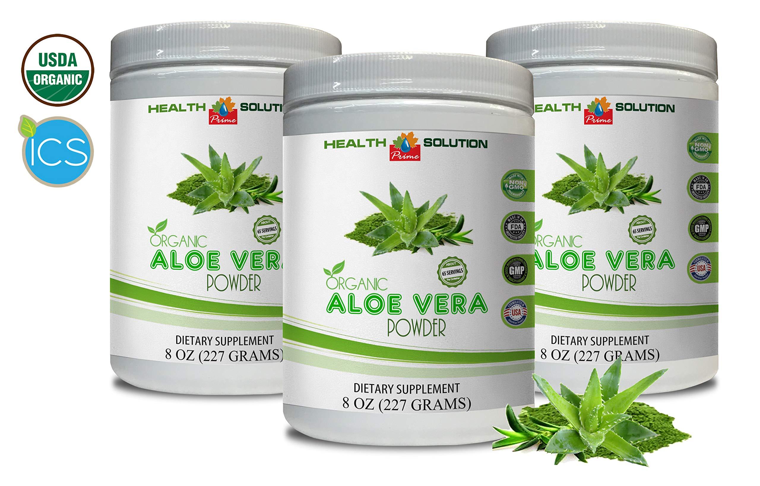 Organic Immunity Booster - Organic Aloe Vera Powder - Aloe Vera Gel Powder Organic - 3 Cans 24 OZ (195 Servings)
