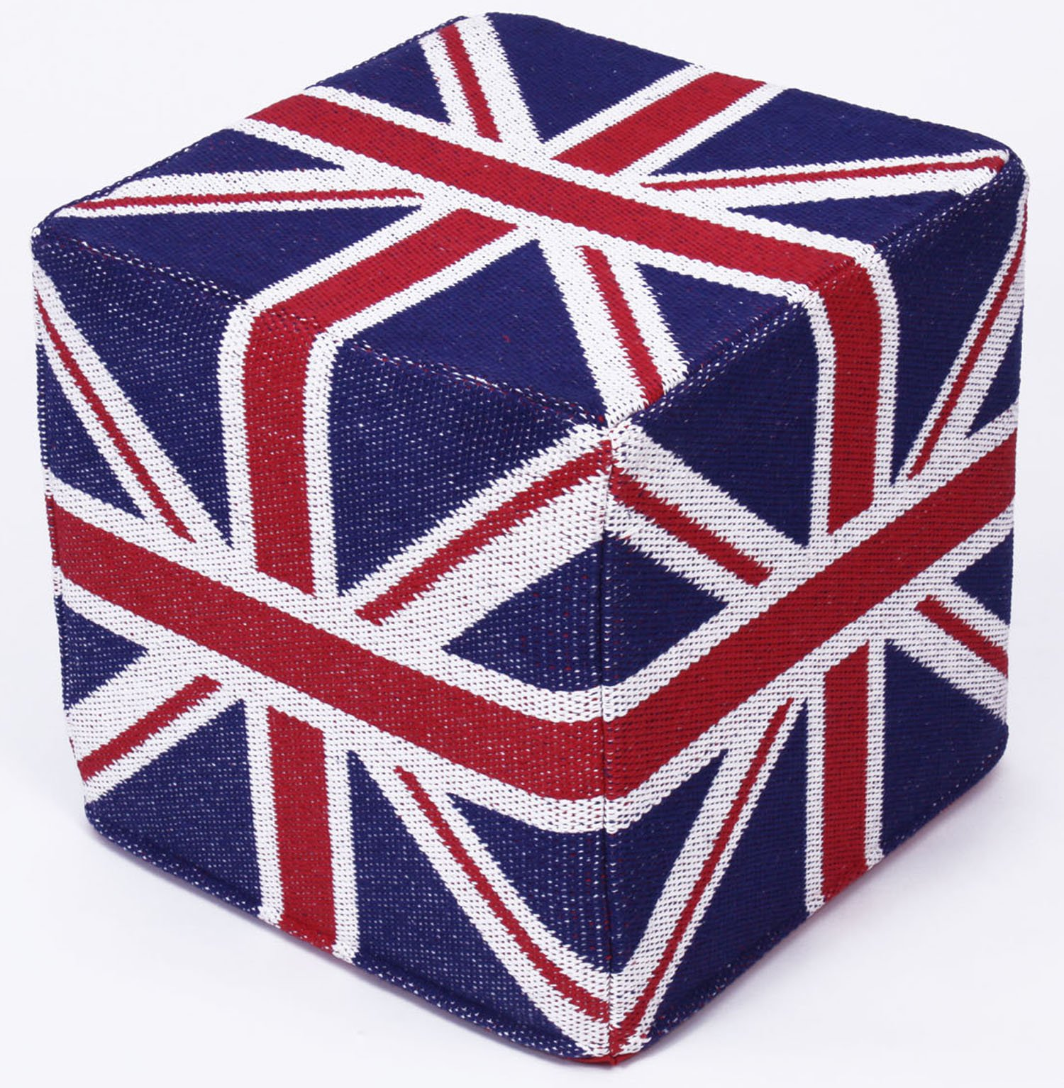 Design Accents Union Jack Hand Woven Pouf, 18-Inch by 18-Inch by 18-Inch, Multicolored