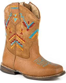 Roper Toddler-Girls Aztec Embroidery Cowgirl Boot Square Toe