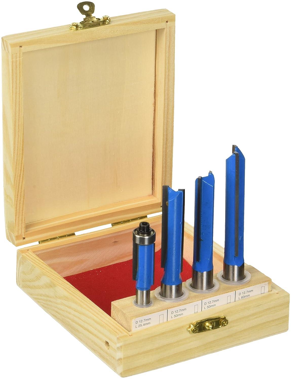 Silverline 250589 Coffret de Fraise de cuisine 12/8 mm, Bleu, 4 piè ces 4 pièces