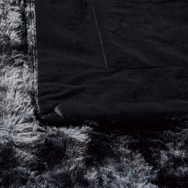 50/×60 Machine Washable Luxury Soft Plush Shaggy Fleece Blanket Black Faux Fur Throw Blanket