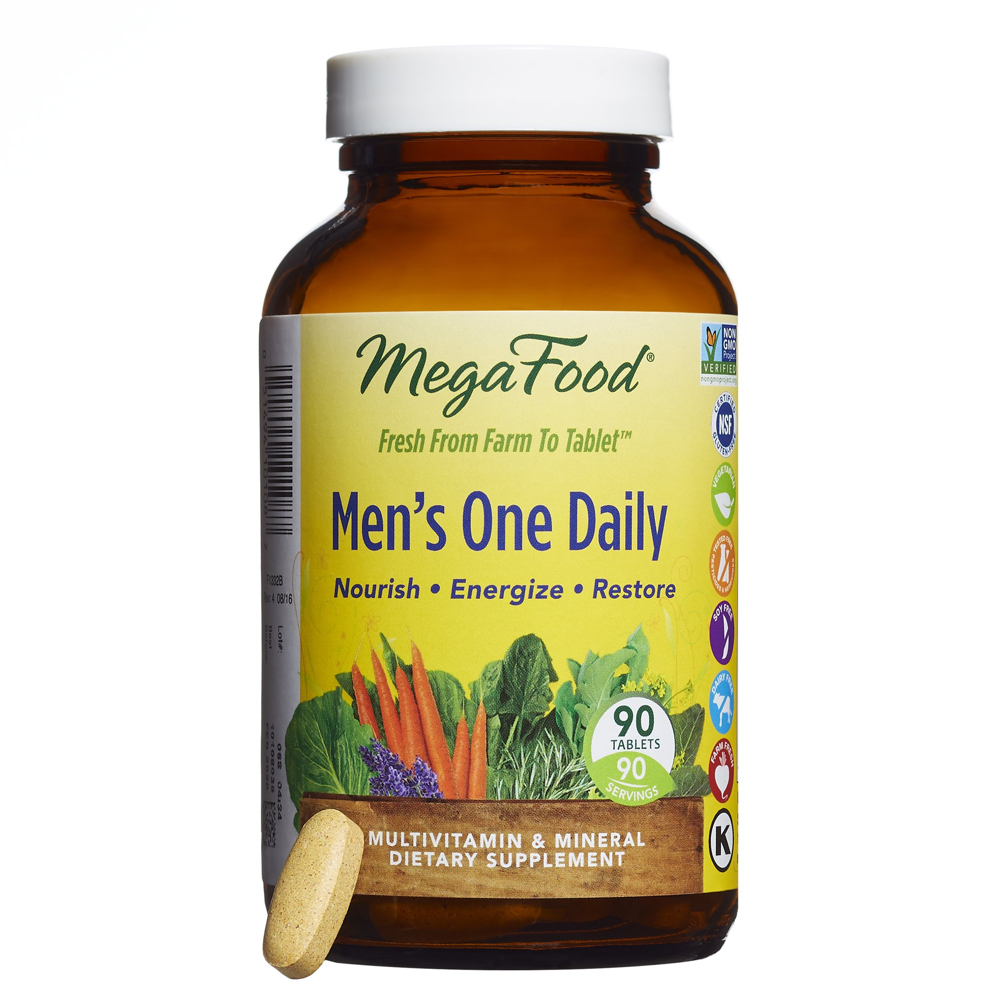 MegaFood - Men's One Daily, Supports Energy Levels & a Healthy Stress Response, 90 Tablets (FFP)