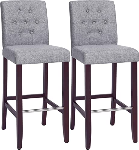 SONGMICS Set of 2 Bar Stools Kitchen Breakfast Chairs, with Button Tufted Backrest, Linen-Style Fabric, Solid Wood Legs, with Footrest, Light Gray , Seat height 29.9