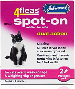 Johnsons 4fleas Dual Action Spot On For Cats And Kittens Cats Over 4kg Amazon Co Uk Pet Supplies