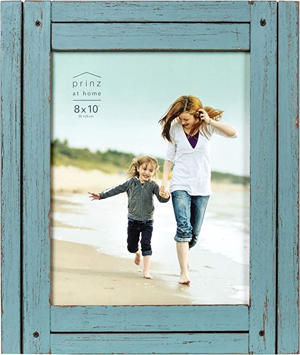 PRINZ Homestead 8-Inch by 10-Inch Rustic Frame in Distressed Finish, Blue