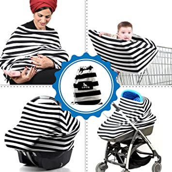Baby Multi Use Stretchy Nursing Cover Car Seat Stroller Apron Canopy Shopping