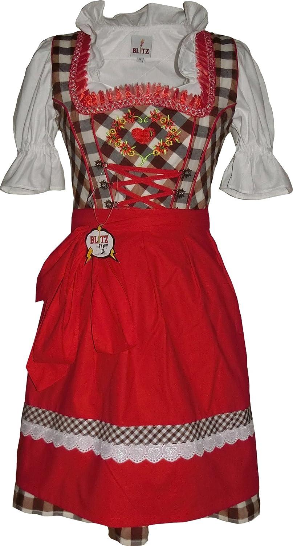 Blitz BT19 Dirndl 3 tlg. Trachtenkleid Kleid, Bluse, Schürze, ca. 90cm Größe: 34 bis 42 , Braun&Weiß&Rot
