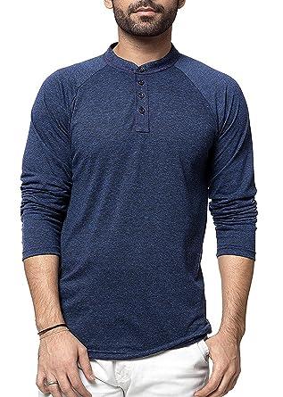Zeyo Henley Men s Cotton Full Sleeve Milanch Regular Fit T-Shirt (Navy Blue 58898c39e