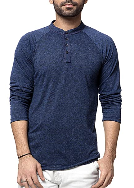 2d4ae94c2d5 Zeyo Henley Men s Cotton Full Sleeve Milanch Regular Fit T-Shirt (Navy Blue