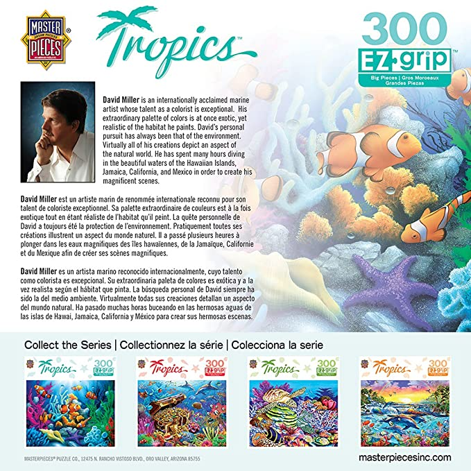 Amazon.com: MasterPieces Tropics Here Comes The Clowns Large 300 Piece EZ Grip Jigsaw Puzzle by David C. Miller: Toys & Games