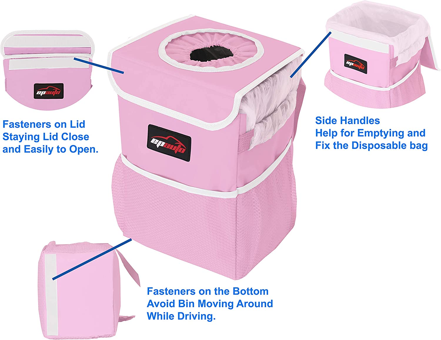EPAuto Waterproof Car Trash Can with Lid and Storage Pockets Pink