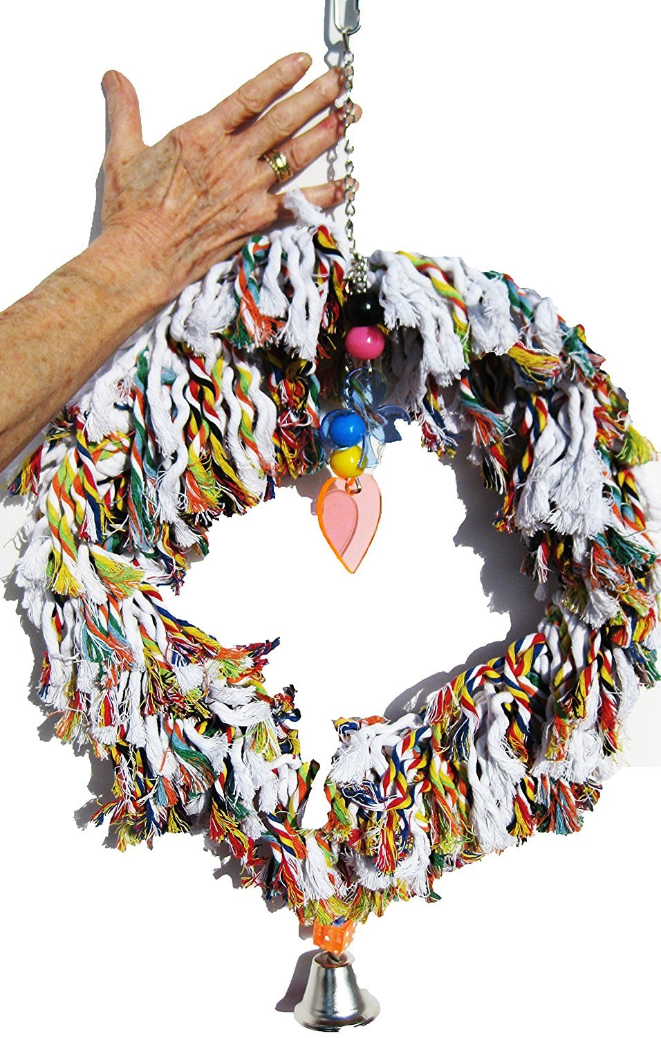 Large Fluffy Ring Bonka Bird Toys 1017 Huge Fluffy Ring Bird Toy Parred cage Toys Cages Swing Preen Plucker binkie