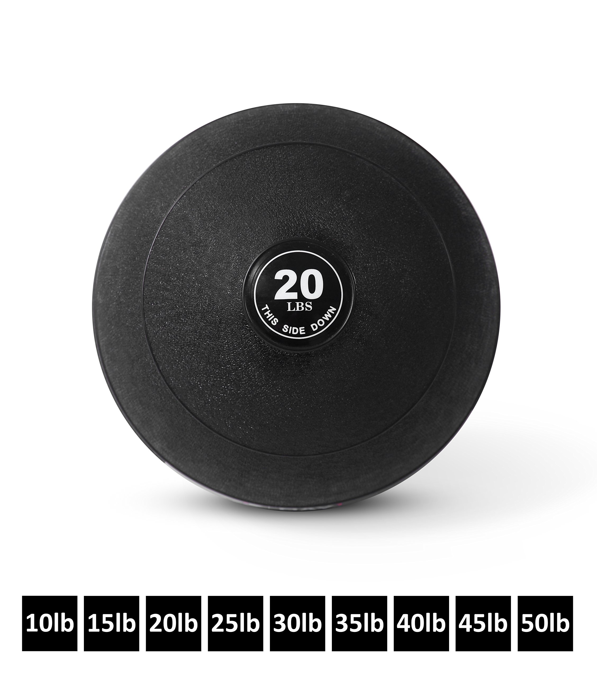 Day 1 Fitness Weighted Slam Ball, No Bounce Medicine Ball - Gym Equipment Accessories for High Intensity Exercise, Functional Strength Training, Cardio, Crossfit, and Plyometrics - 20 lbs