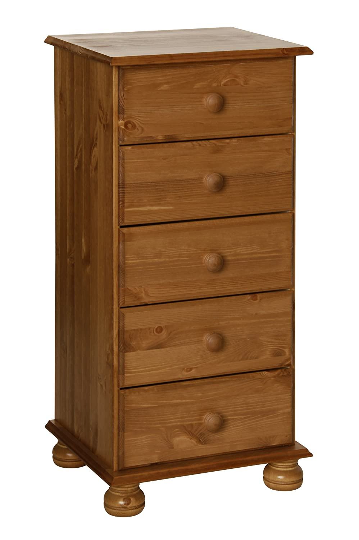 Furniture To Go Copenhagen 5-Drawer Narrow Chest, 90 x 44 x 39 cm, Antique Pine NJA Furniture 1010211