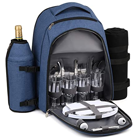 Gonex Picnic Backpack Bag for 4 Person with Insulated Cooler Compartment, Fleece Blanket, Detachable Wine Holder, Cutlery Set Blue