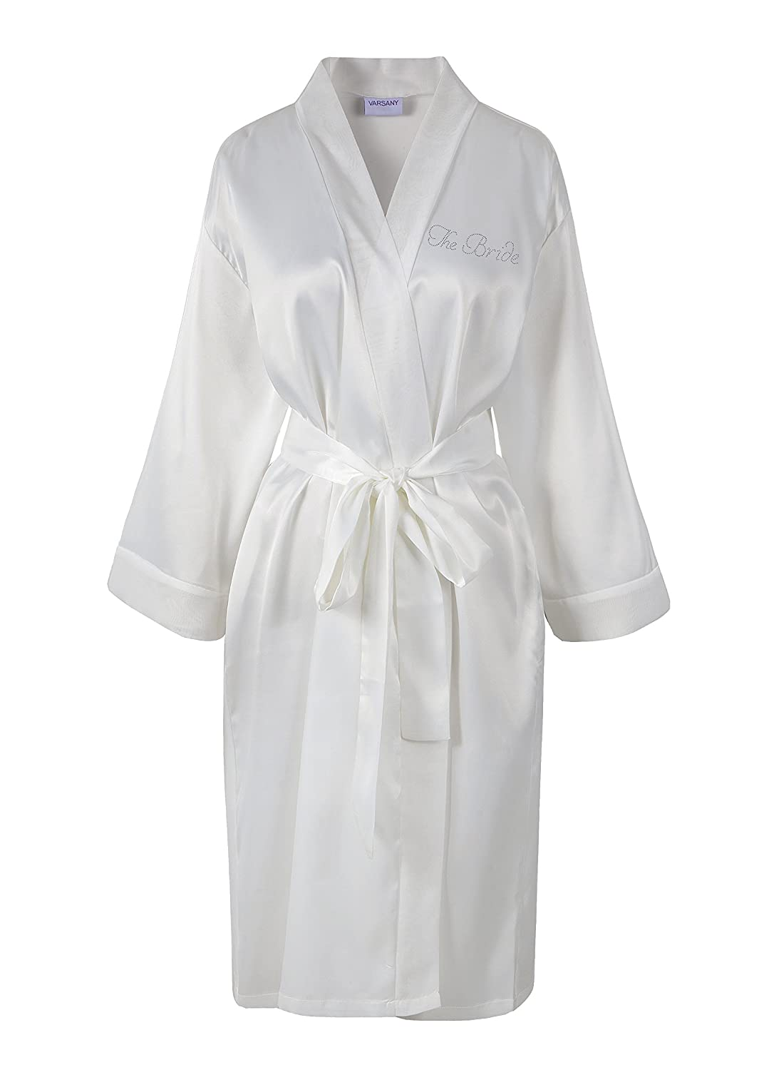 05c69239dc Ivory Varsany The Bride Satin Rhinestone Bathrobe Personalised Diamante Dressing  gown Kimono  Amazon.co.uk  Kitchen   Home