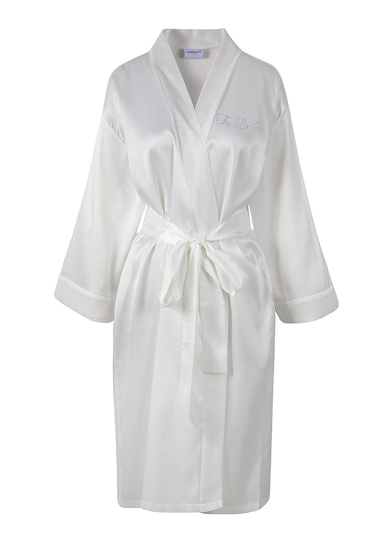 Ivory Varsany The Bride Satin Rhinestone Bathrobe Personalised Diamante Dressing  gown Kimono  Amazon.co.uk  Kitchen   Home bd21e27dc