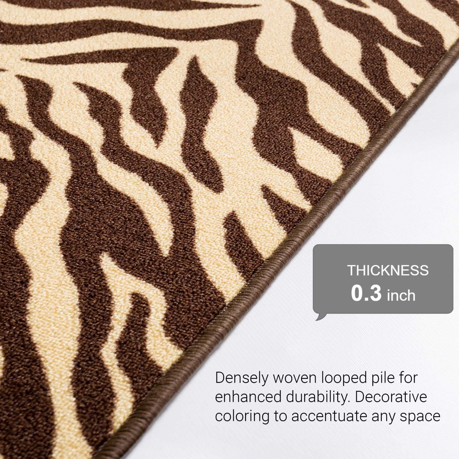 Well Woven Non-Skid Slip Rubber Back Antibacterial 2x5 (1'8'' x 5') Door Mat Runner Rug Brown Zebra Animal Print Stripes Modern Thin Low Pile Machine Washable Indoor Outdoor Kitchen Hallway Entry by Well Woven (Image #6)