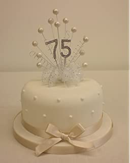 CAKE TOPPER PEARL BURST SPRAY DIAMANTE 75th BIRTHDAY IVORY PEARLS