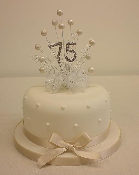 CAKE TOPPER PEARL BURST SPRAY DIAMANTE 75th BIRTHDAY IVORY PEARLS