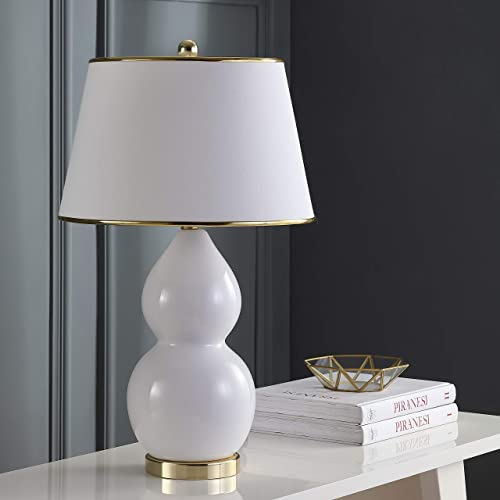 Safavieh Lighting Collection Jill White Double Gourd Ceramic 26.5-inch Table Lamp