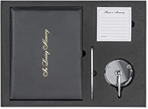 Reflections - in Loving Memory Large Funeral Guest Book Set   PU Leather Memorial Guest Book   Keepsake EVA Padded Box with Pen & Stand, and Memory Cards   Stitched Back Pocket for Funeral Cards