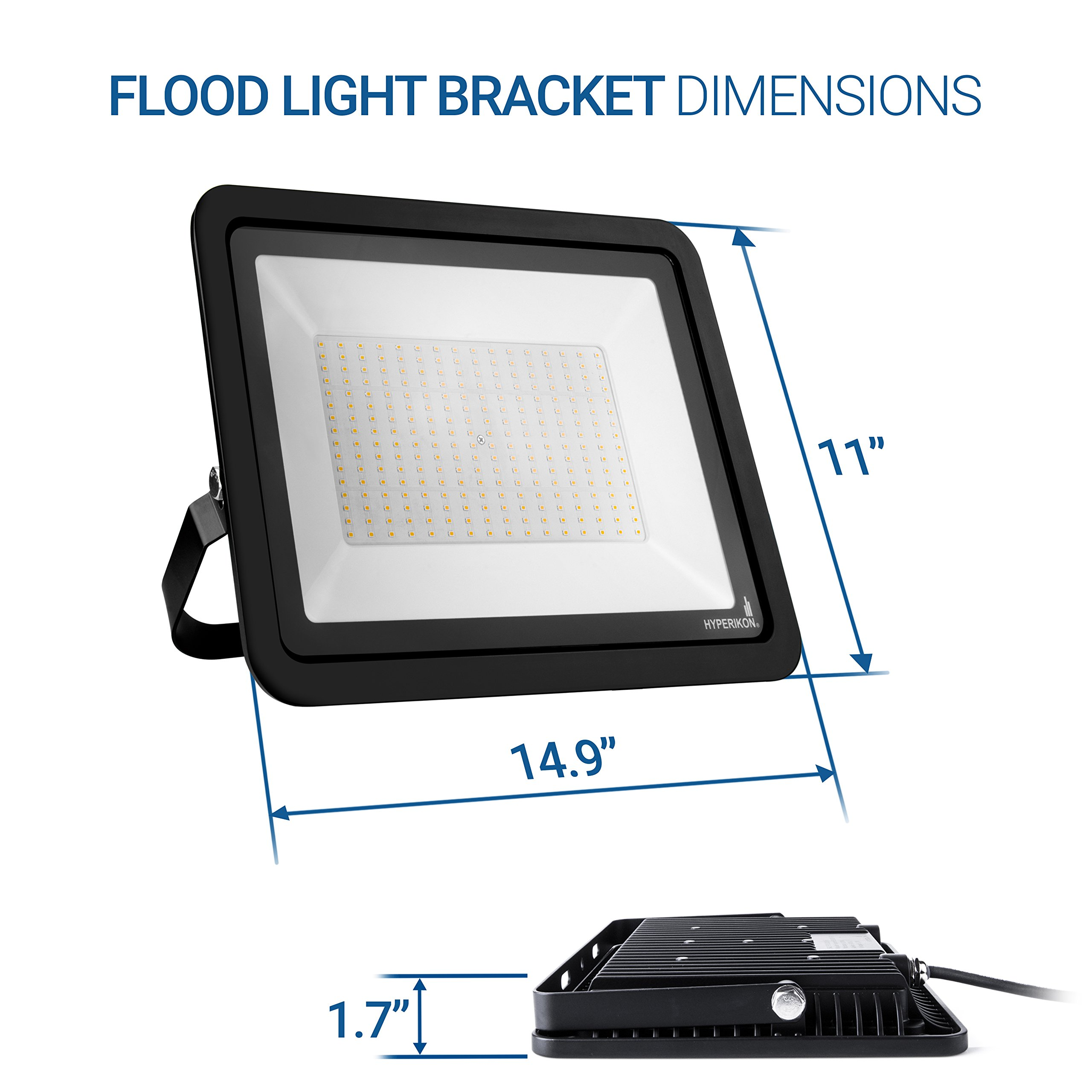 Hyperikon LED Flood Light 200W (1000 Watt Eq.) 180° Rotatable Bracket, 5000k,16000 Lm, Super Bright Outdoor LED Floodlight, Weatherproof IP65, Suitable for Dry and Damp Locations, 110V, 2-Pack by Hyperikon (Image #7)
